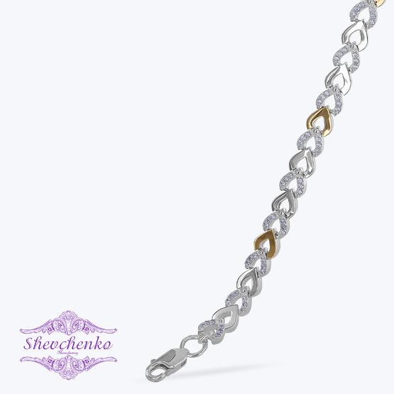Браслет из серебра с золотом арт. 676 (34) б