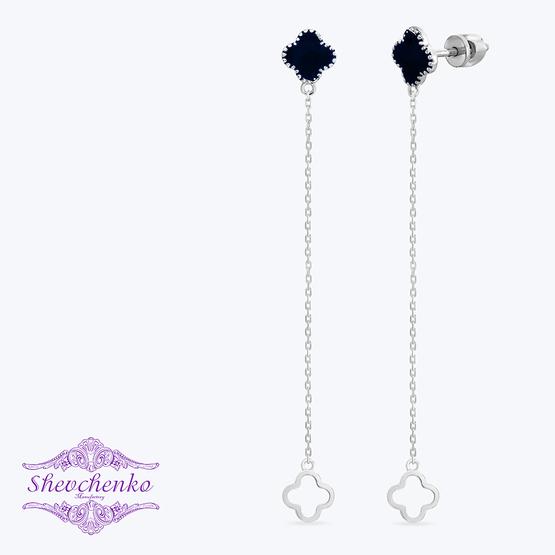 Сережки срібні висячі з емаллю арт. 789